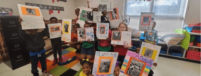 Students at elementary school created adoption posters for homeless dogs