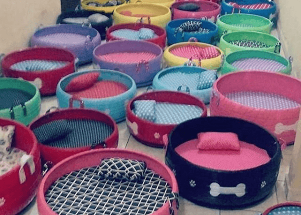 man transforms old tires into pet beds