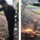 Video shows man roasting a puppy over a fire