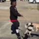 Teenager swinging dogs